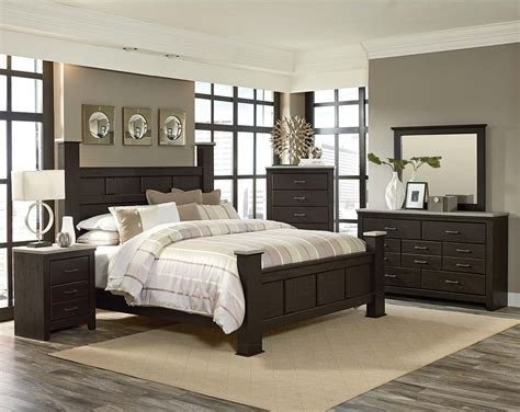 bedroom with dark furniture panel poster bed pecan finish gray tops stonehill dark