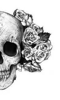 Decorated Cow Skull Illustration Black And White Music Grunge Flowers Skull