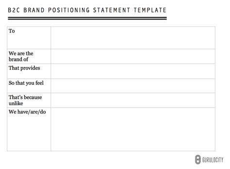 An Effective Format For Writing A Brand Positioning Statement Gurulocity Brand Statement Template
