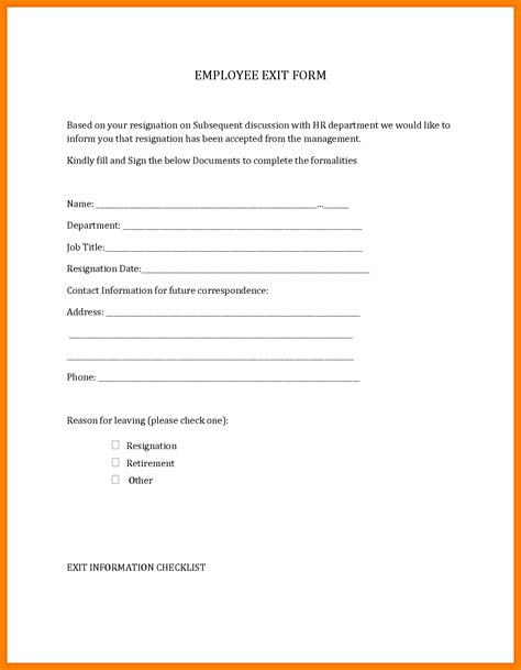 resignation form template business template