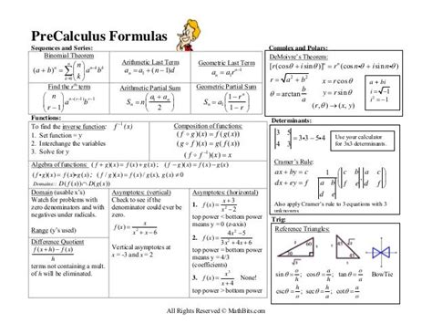 Precalculus Formulas Sequences And Series Sequences And