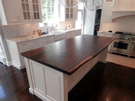 wood island tops kitchens live edge wood countertops brooks custom