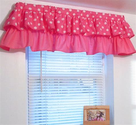 pink valance curtains pink polka dot minnie mouse girls bedroom window curtain