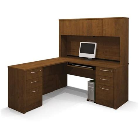 Assembled Office Desks Embassy L Shaped Desk With Hutch And Pre Assembled Pedestals Officedesk