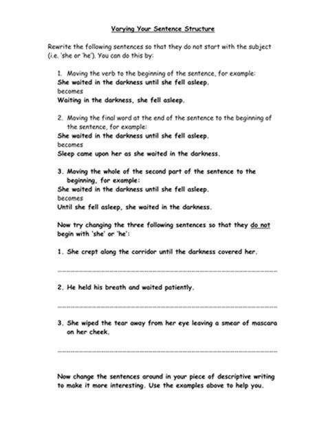 sentence pattern teaching varying sentence structure worksheet bluegreenish