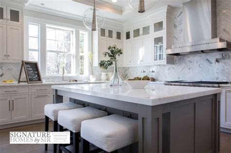 Beautiful White Kitchen Cabinets Beautiful Kitchen Gray And White Shaker Cabinets Thick Countertop Kitchens