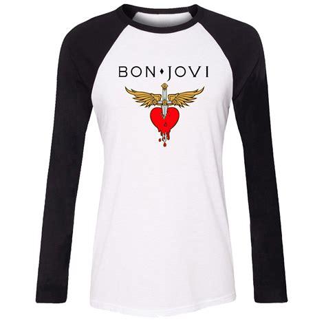 kaos bon jovi bon jovi 10 raglan idzn t shirt bon jovi rock band wing sword