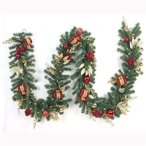 best xmas lighted garlands 100ft home accents 12 ft pre lit plaza artificial garland with 100 battery operated warm