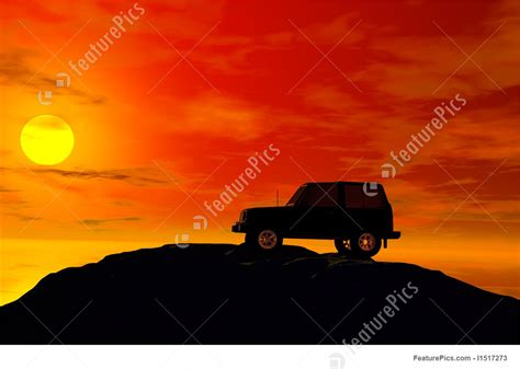 jeep sunset illustration of jeep with sunset