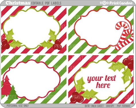 rectangle editable   christmas labels   printcandee