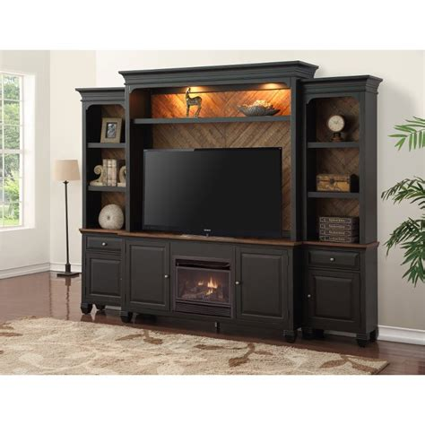 antique black  piece fireplace entertainment center brighton hickory rc willey furniture store