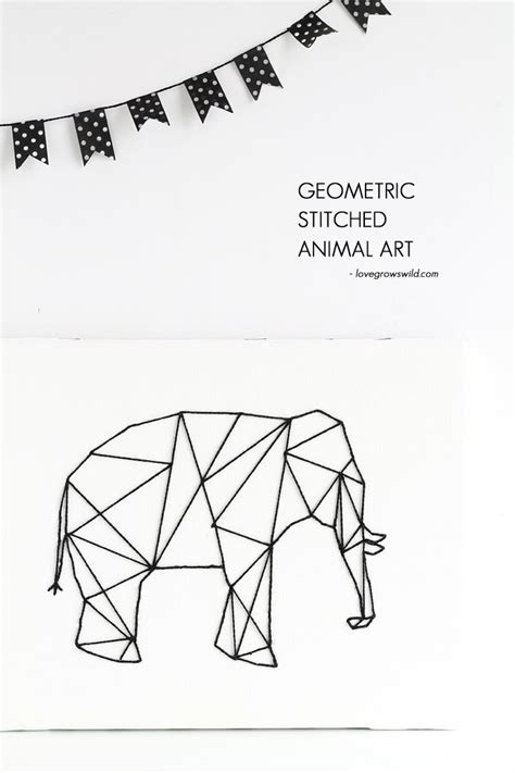 geometric elephant coloring pages geometric stitched animal art love grows wild