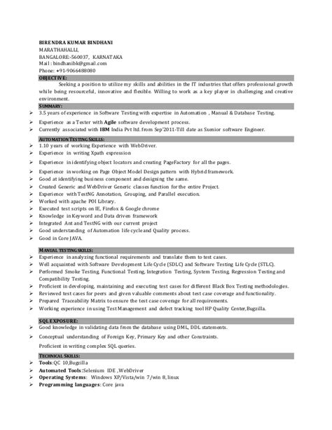 Resume Sles For Experienced Software Professionals software testing resume sles for 1 year experience 28