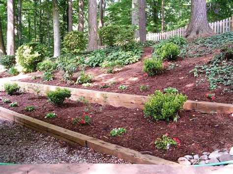 Landscape Timbers Slope Outdoor Garden Design Awesome Retaining Wall With