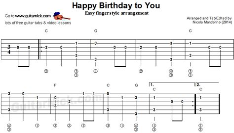 fingerstyle tutorial video download happy birthday to you fingerstyle guitar tablature