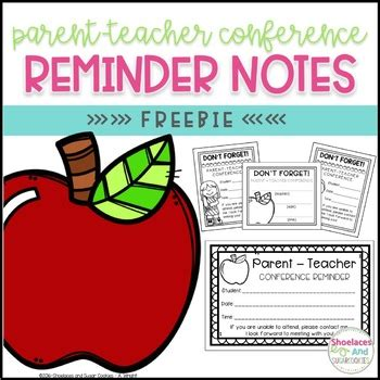 Free Parent Teacher Conference Reminder Notes By Shoelaces And Sugar Cookies Parent Conference Powerpoint Template