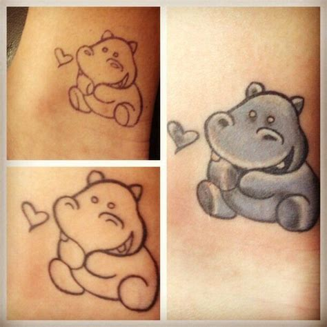 hippo tattoo hippo staring at shape