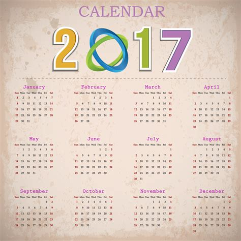 Table Calendar Table Calendar 2017 Design Free Vector 2 006