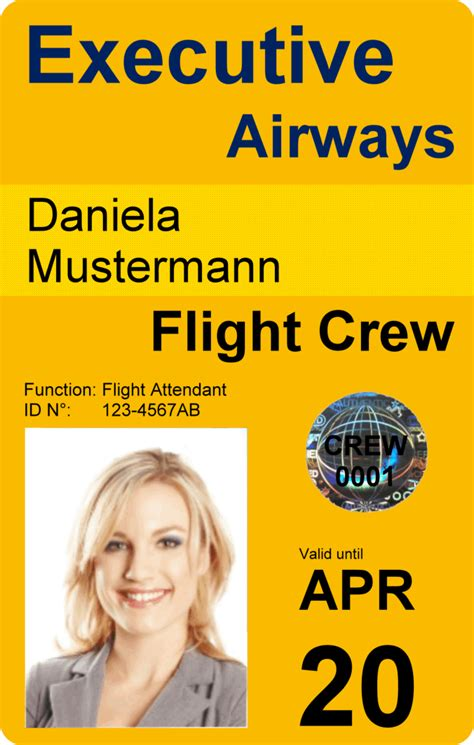 Crew Id Card Design crewidcard we make crew badges for your professional