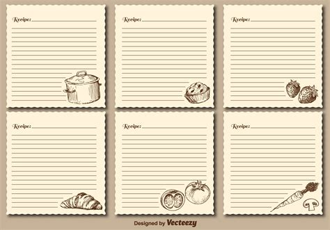 Retro Recipe Cards Vintage Template Free Word by Vintage Recipe Cards Vector Templates Free
