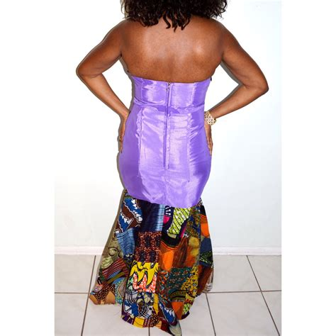 Ankara Patchwork - liliac satin and ankara patchwork print strapless floor