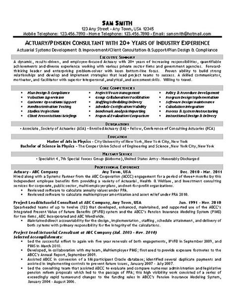 Actuarial Skills Resume by Actuary Resume Exle