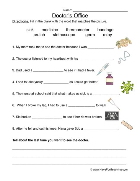 Doctor Worksheets For Kindergarten by Doctor S Office Worksheet Fill In The Blanks