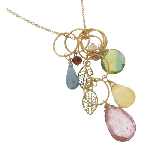 gemstone drop necklace gold filled charm necklace
