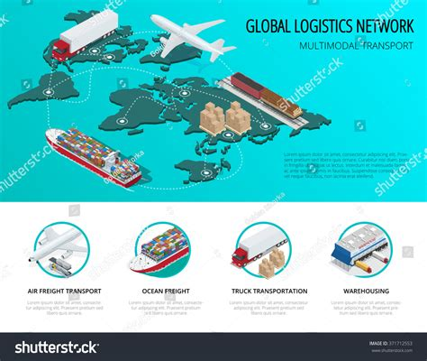 global logistics network flat 3d isometric stock vector 371712553
