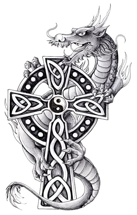 celtic cross with dragon tattoo with celtic cross and yin and yang yin yang
