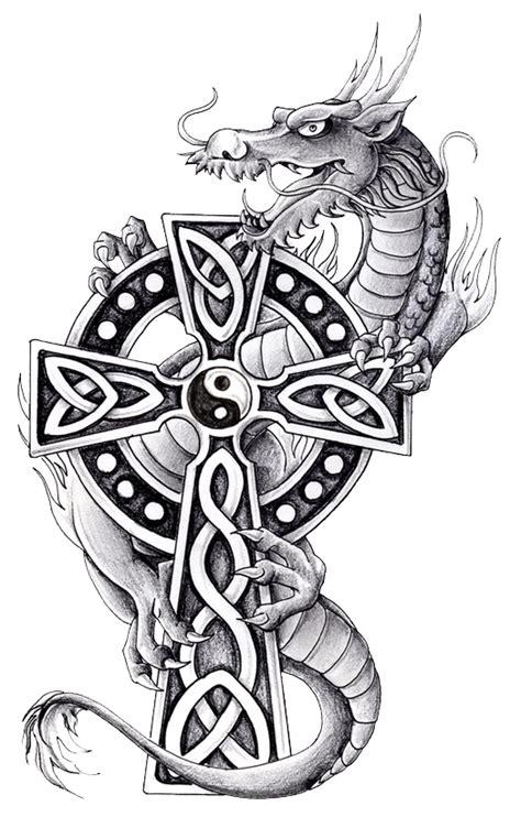 celtic cross dragon tattoo with celtic cross and yin and yang yin yang