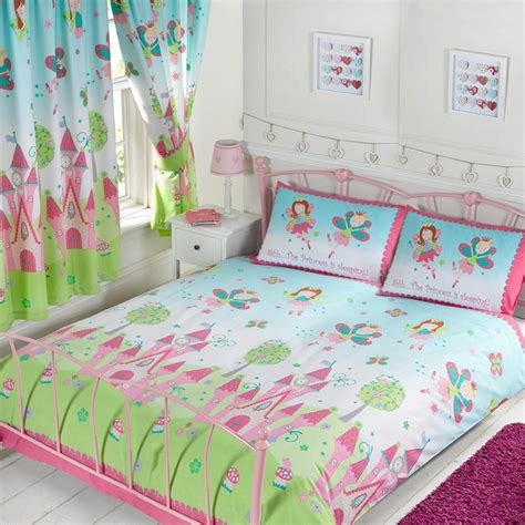 Bedroom Doona Covers Pink Green Princess Bedding Crib Toddler Or