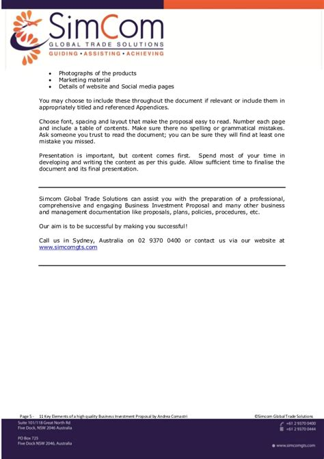 Business Plan Cover Letter For Investors 11 Key Elements Of A High Quality Business Investment