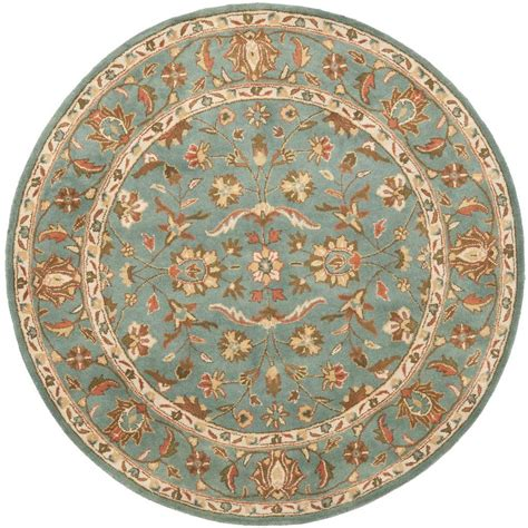 Safavieh Heritage Blue 6 Ft X 6 Ft Round Area Rug Hg969a 6 Foot Area Rugs