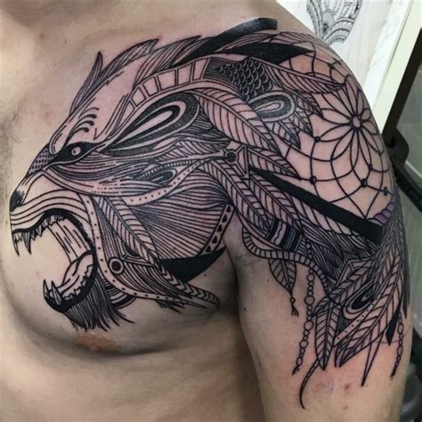 predator tattoo tribal chest tattoo on tattoochief com