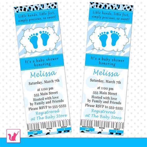 Ticket Baby Shower Invitations by 50 Invitation Tickets Baby Boy Shower Zebra Cheetah Blue
