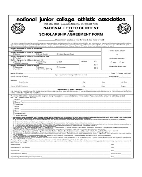 National Letter Of Intent Scholarship 2017 Letter Of Intent Template Fillable Printable Pdf Forms Handypdf