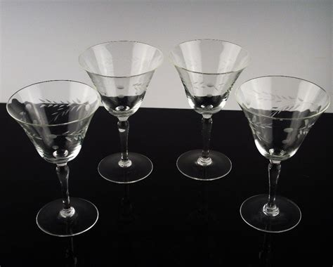 Cocktail Stemware Willow Moon Chagne Cocktail Glasses Ca 1950 S From The