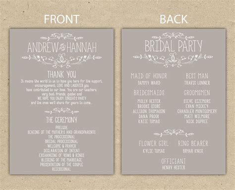 wedding reception programs templates wedding program wedding reception wedding thank you
