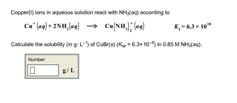 nh3aq copper i ions in aqueous solution react with nh3 chegg