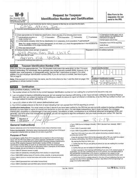 printable w 9 ohio download fatca w9 download pdf