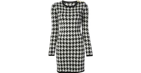black and white geometric pattern dress balmain geometric pattern dress in white lyst