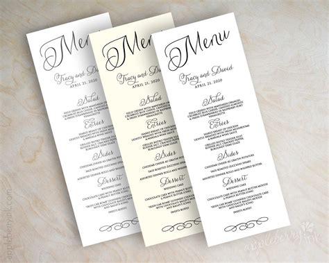 how to make wedding menu cards wedding menu card printable wedding menu diy wedding menu