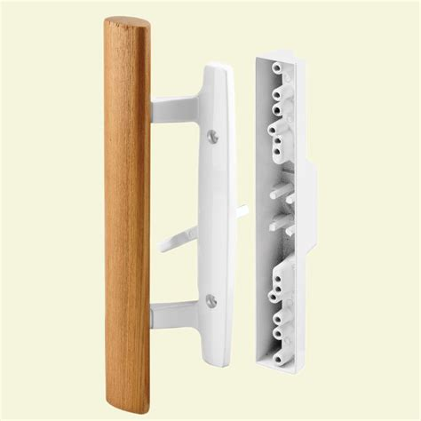 prime line wood handle white diecast sliding door handle