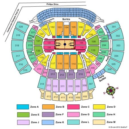 phillips center capacity floor philips arena tickets and philips arena seating charts
