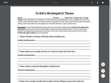to kill a mockingbird theme development to kill a mockingbird theme worksheet for 8th 9th grade