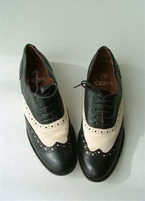 womens vintage oxford shoes vintage womens black white leather oxford shoes 39 italy