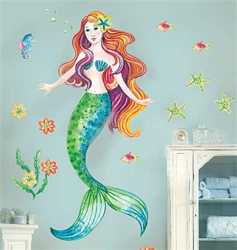 mermaid wall mural mermaid vinyl mural w10142 big vinyl murals wallies