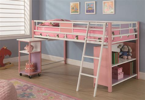 Kids Bunk Bed With Pull Out Desk For Girl Decofurnish Bunk Beds With Pull Out Bed