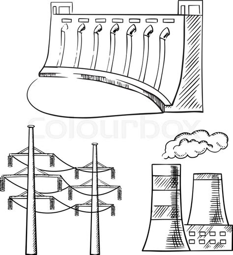 theme generator drawing hydro power plant with dam thermal power plant with